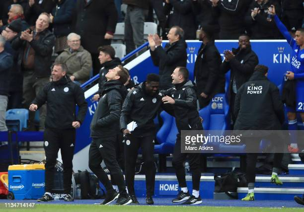 Scott Parker Caretaker Manager of Fulham reacts after Leicester City's second goal during the Premier League match between Leicester City and Fulham...