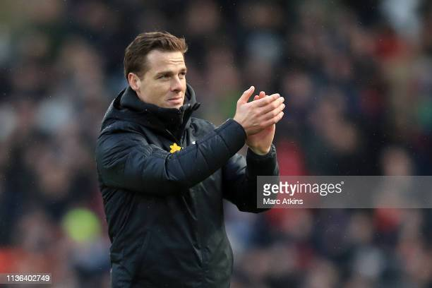 Scott Parker Caretaker Manager of Fulham shows appreciation to the fans after the Premier League match between Fulham FC and Liverpool FC at Craven...
