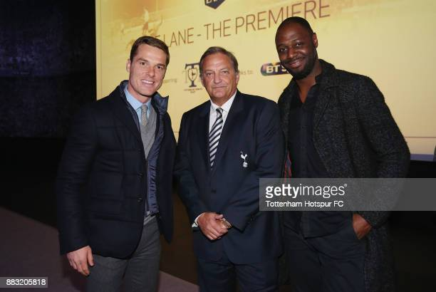 Scott Parker Gary Mabbutt and Ledley King during the premiere of 'The Lane' documentary film at BT Sport Studios on November 30 2017 in Stratford...