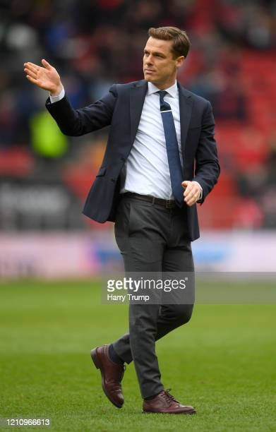 Scott Parker Manager of Fulham acknowledges the fans after the Sky Bet Championship match between Bristol City and Fulham FC at Ashton Gate on March...