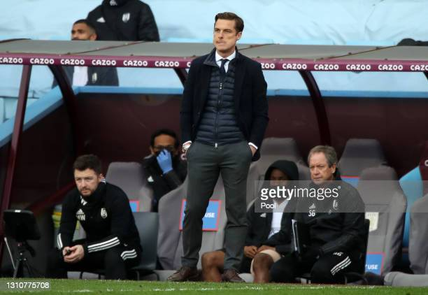 Scott Parker, Manager of Fulham looks on during the Premier League match between Aston Villa and Fulham at Villa Park on April 04, 2021 in...