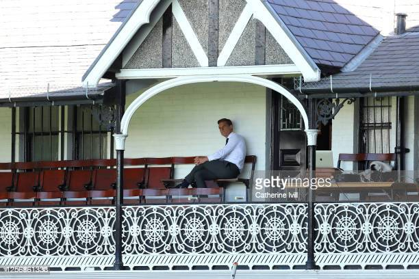Scott Parker, Manager of Fulham sits in the stand ahead of the Sky Bet Championship match between Fulham and Sheffield Wednesday at Craven Cottage on...