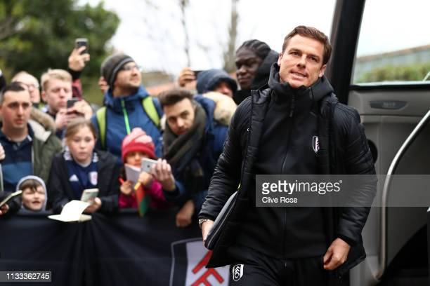 Scott Parker Manager of Watford arrives ahead of the Premier League match between Fulham FC and Chelsea FC at Craven Cottage on March 03 2019 in...
