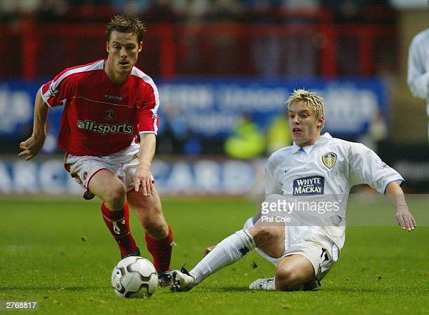 Scott Parker of Charlton Athletic battles with Alan Smith of Leeds United during the FA Barclaycard Premiership match between Charlton Athletic and...