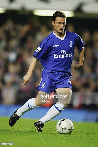 Scott Parker of Chelsea in action during the Champions League match between Chelsea and Paris Saint Germain at Stamford Bridge on November 24 2004 in...