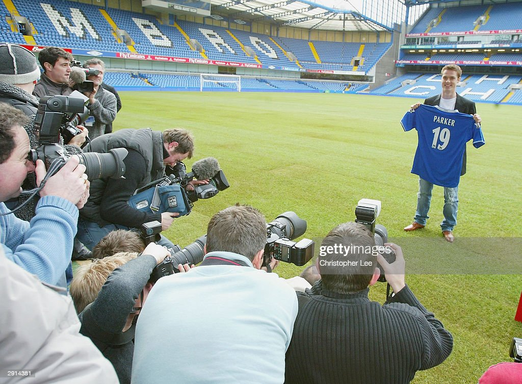 Scott Parker of Chelsea poses for the cameras during a Chelsea FC press Conference at Stamford Bridge on January 30, 2004, in London. Parker signed from Charlton to Chelsea today for £10 million.