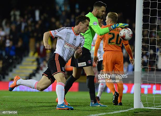 Scott Parker of Fulham celebrates his goal during the Sky Bet Championship match between Fulham and Charlton Athletic at Craven Cottage on October 24...