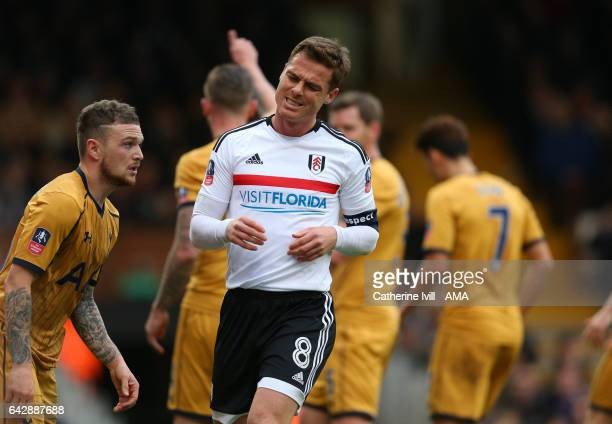 Scott Parker of Fulham reacts after missing a chance during The Emirates FA Cup Fifth Round match between Fulham and Tottenham Hotspur at Craven...