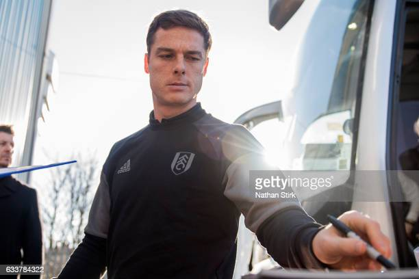 Scott Parker of Fulham signs an autograph before the Sky Bet Championship match between Birmingham City and Fulham at St Andrews Stadium on February...