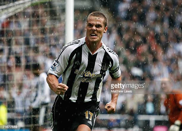 Scott Parker of Newcastle celebrates his goal during the Barclays Premiership match between Newcastle United and Wigan Athletic at StJames Park on...