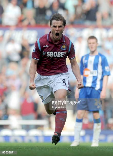 Scott Parker of West Ham United celebrates after scoring the winning goal during the Barclays Premier League match between West Ham United and Wigan...