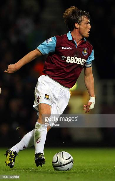 Scott Parker of West Ham United in action during the Carling Cup fourth round match between West Ham United and Stoke City at Boleyn Ground on...