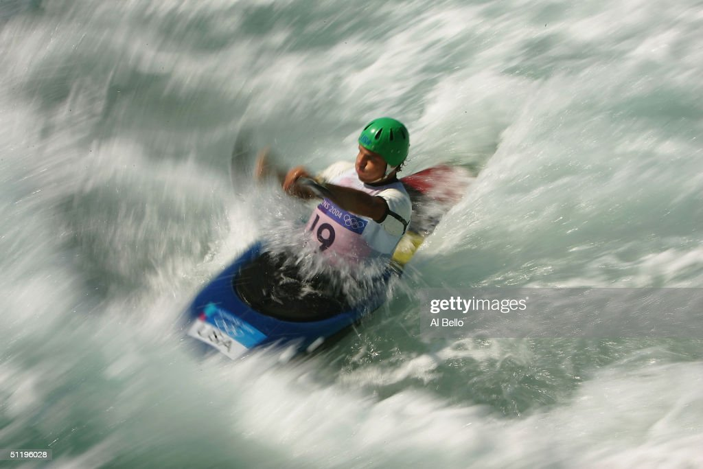 Scott Parsons #19 of the USA competes during the men's K-1 class slalom semifinal on August 20, 2004 during the Athens 2004 Summer Olympic Games at the Schinias Olympic Slalom Centre in Athens, Greece.