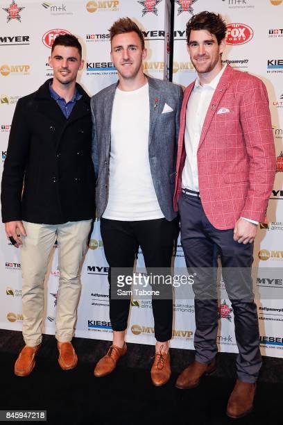 Scott Pendlebury Linden Dunn and Tyson Goldsack arrives ahead of the AFL Players' MVP Awards on September 12 2017 in Melbourne Australia