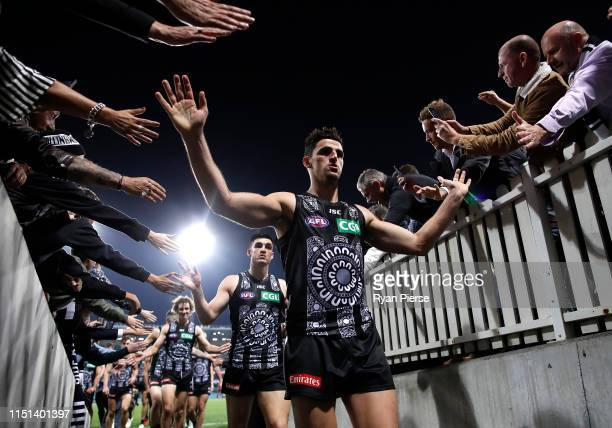 Scott Pendlebury of the Magpies celebrates victory during the round 10 AFL match between the Sydney Swans and the Collingwood Magpies at the Sydney...