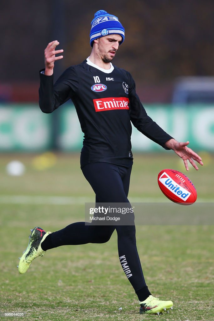 Scott Pendlebury of the Magpies kicks the ball during a Collingwood Magpies AFL press conference at the Holden Centre on July 12, 2018 in Melbourne, Australia.