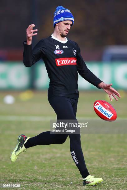 Scott Pendlebury of the Magpies kicks the ball during a Collingwood Magpies AFL press conference at the Holden Centre on July 12 2018 in Melbourne...