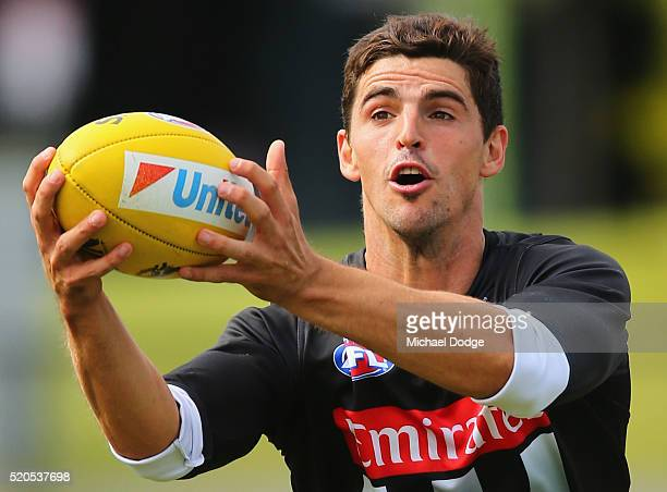 Scott Pendlebury of the Magpies marks the ball during a Collingwood Magpies AFL training session on April 12 2016 in Melbourne Australia