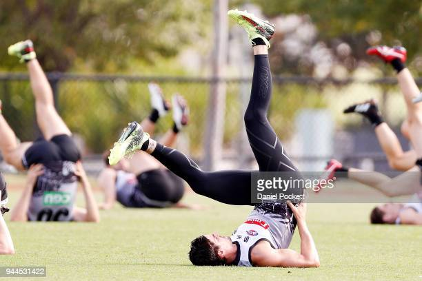 Scott Pendlebury of the Magpies warms up during a Collingwood Magpies AFL training session at Holden Centre on April 11 2018 in Melbourne Australia