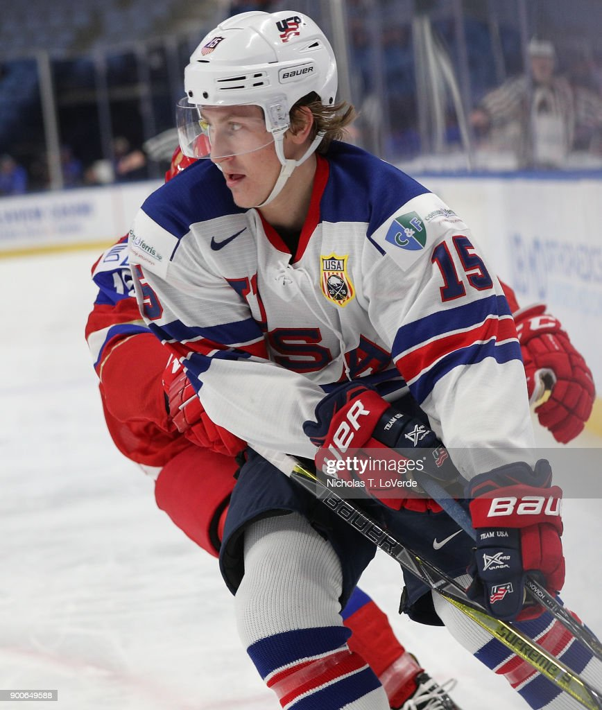 Scott Perunovich #15 of United States skates against Russia during the second period of play in the Quarterfinal IIHF World Junior Championship game at the KeyBank Center on January 2, 2018 in Buffalo, New York.