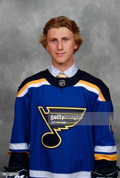 Scott Perunovich poses for a portrait after being selected 45th overall by the St Louis Blues during the 2018 NHL Draft at American Airlines Center...