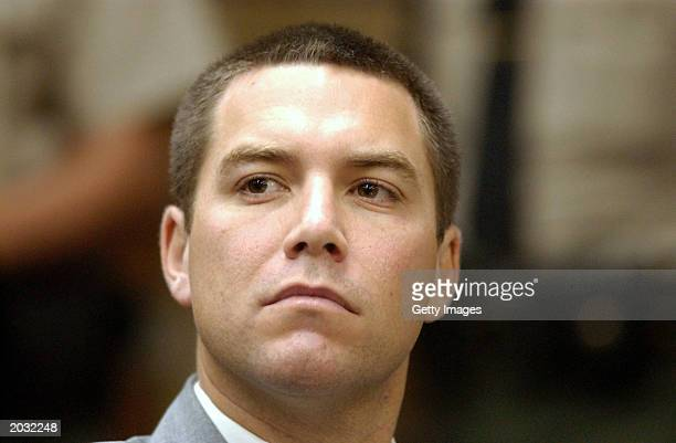 Scott Peterson listens to statements by Senior District Attorney Rich Distaso during a pretrial hearing May 27 2003 in Modesto California Stanislaus...