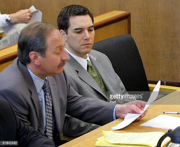 Scott Peterson sits in the courtroom at the San Mateo Superior Courthouse with his attorney Mark Geragos during defense closing arguments in the...