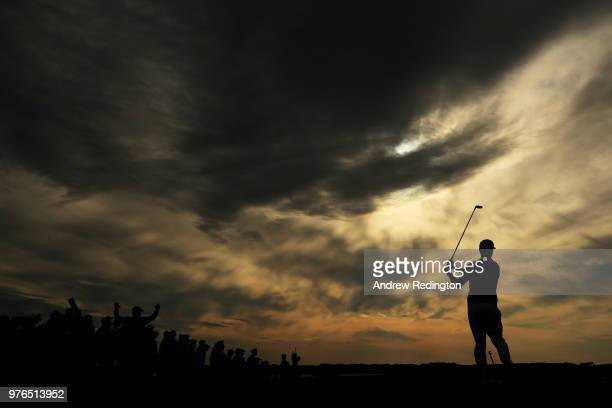 Scott Piercy of the United States plays his shot from the 15th tee during the third round of the 2018 US Open at Shinnecock Hills Golf Club on June...