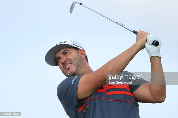Scott Piercy of the United States plays his shot from the 17th tee during the first round of the 3M Open at TPC Twin Cities on July 04 2019 in Blaine...
