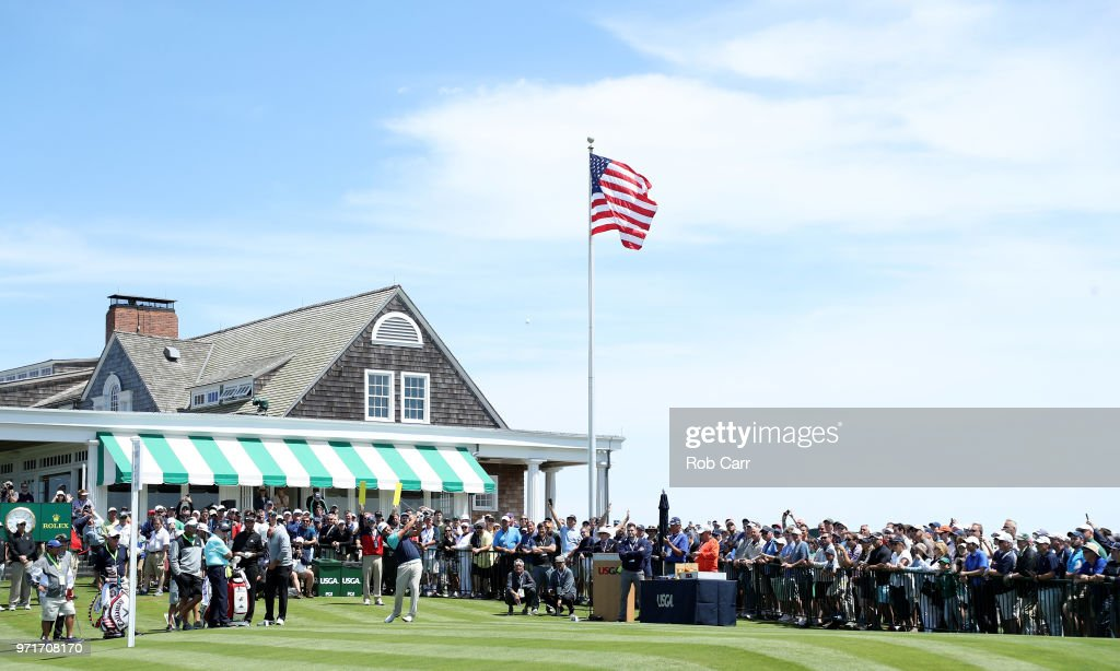 Scott Piercy of the United States plays his shot from the first tee during practice rounds prior to the 2018 U.S. Open at Shinnecock Hills Golf Club on June 11, 2018 in Southampton, New York.