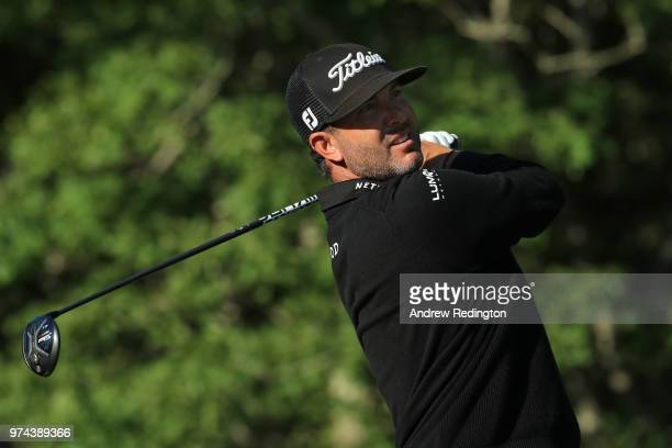 Scott Piercy of the United States plays his shot from the second tee during the first round of the 2018 US Open at Shinnecock Hills Golf Club on June...