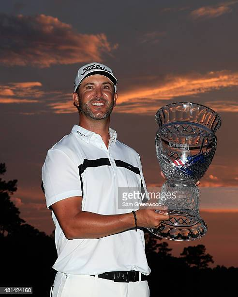 Scott Piercy of the United States poses with the trophy after winning the Barbasol Championship at the at the Robert Trent Jones Golf Trail Grand...