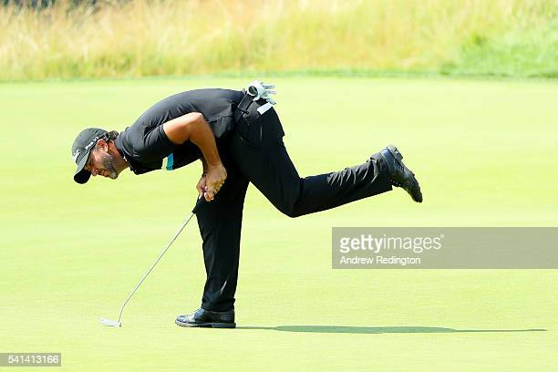 Scott Piercy of the United States reacts to a missed putt on the fifth hole during the final round of the US Open at Oakmont Country Club on June 19...