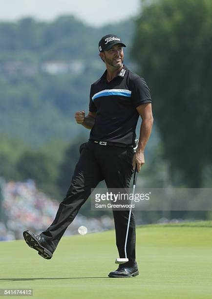 Scott Piercy of the United States reacts to a par save on the fourth green during the final round of the US Open at Oakmont Country Club on June 19...
