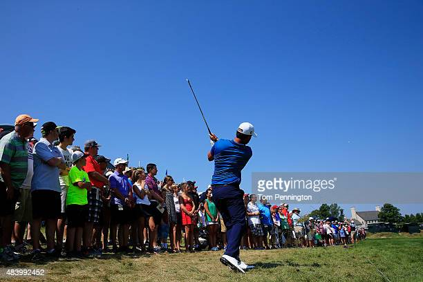 Scott Piercy of the United States watches his second shot on the ninth hole during the second round of the 2015 PGA Championship at Whistling Straits...