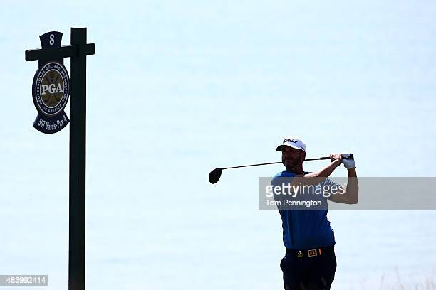 Scott Piercy of the United States watches his tee shot on the eighth hole during the second round of the 2015 PGA Championship at Whistling Straits...