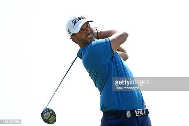 Scott Piercy of the United States watches his tee shot on the ninth hole during the second round of the 2015 PGA Championship at Whistling Straits on...