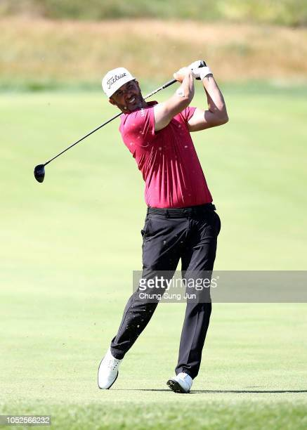 Scott Piercy of United States plays a shot on the 9th hole during the third round of the CJ Cup at the Nine Bridges on October 20 2018 in Jeju South...
