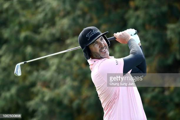 Scott Piercy of United States plays a tee shot on the 14th hole during the second round of the CJ Cup at the Nine Bridges on October 19 2018 in Jeju...