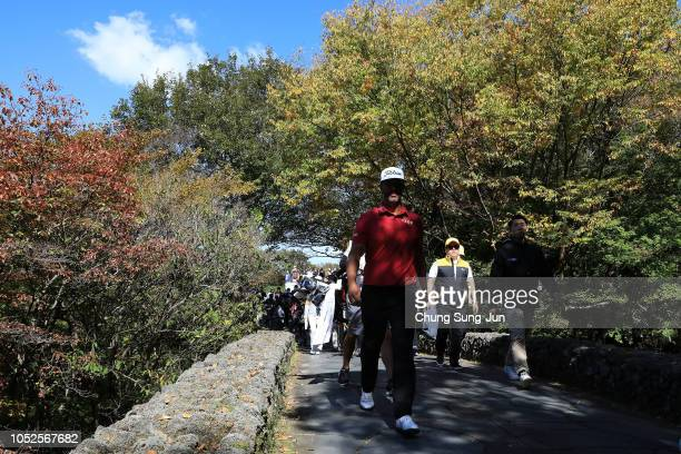 Scott Piercy of United States walks on the 8th hole during the third round of the CJ Cup at the Nine Bridges on October 20 2018 in Jeju South Korea