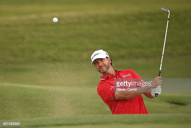 Scott Piercy plays a shot from the bunker on the ninth hole during the third round of the Shriners Hospitals For Children Open at TPC Summerlin on...