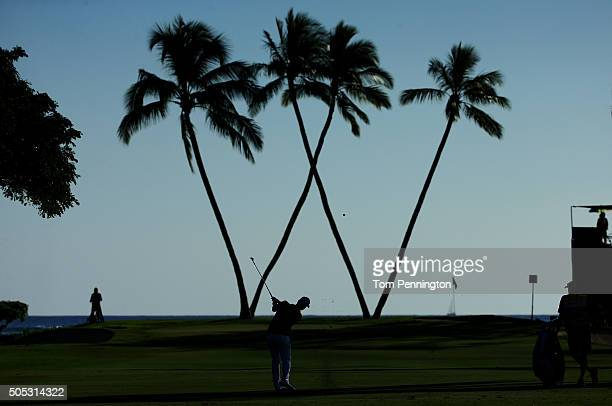 Scott Piercy plays a shot on the 16th hole during the third round of the Sony Open In Hawaii at Waialae Country Club on January 16 2016 in Honolulu...