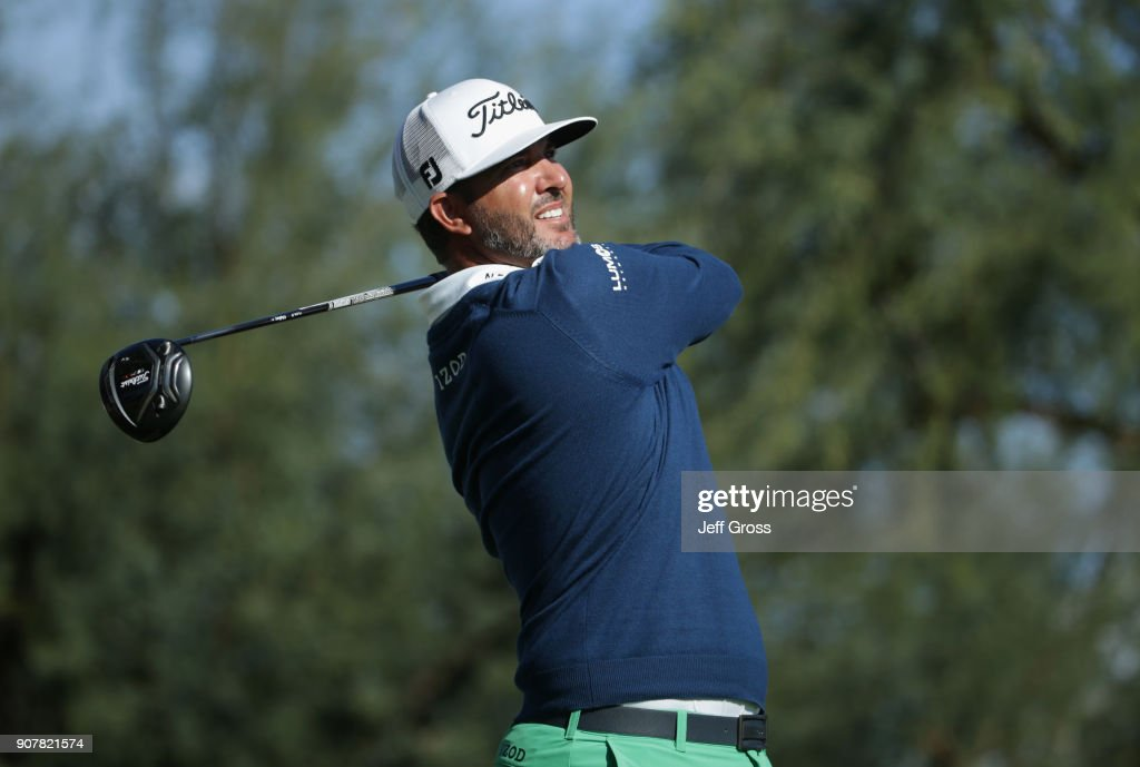 Scott Piercy plays his shot from the ninth tee during the third round of the CareerBuilder Challenge at the TPC Stadium Course at PGA West on January 20, 2018 in La Quinta, California.
