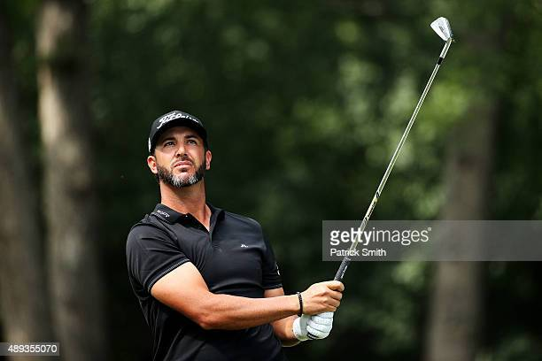 Scott Piercy plays his shot from the second tee during the Final Round of the BMW Championship at Conway Farms Golf Club on September 20 2015 in Lake...