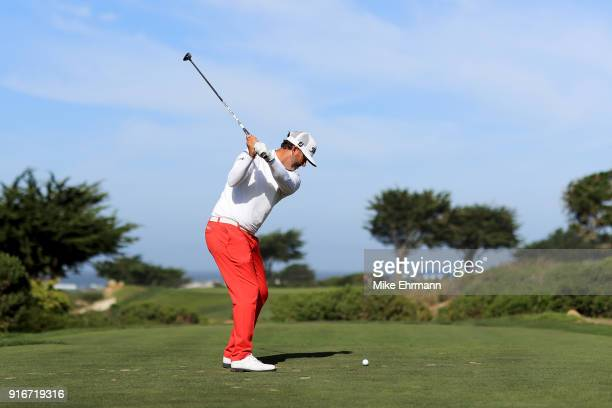 Scott Piercy plays his shot from the seventh tee during Round Three of the ATT Pebble Beach ProAm at Monterey Peninsula Country Club on February 10...