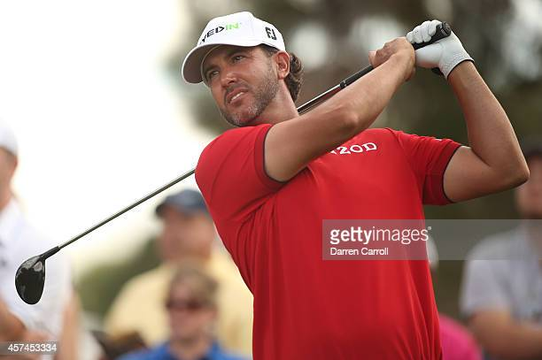 Scott Piercy plays his tee shot on the 10th hole during the third round of the Shriners Hospitals For Children Open at TPC Summerlin on October 18...