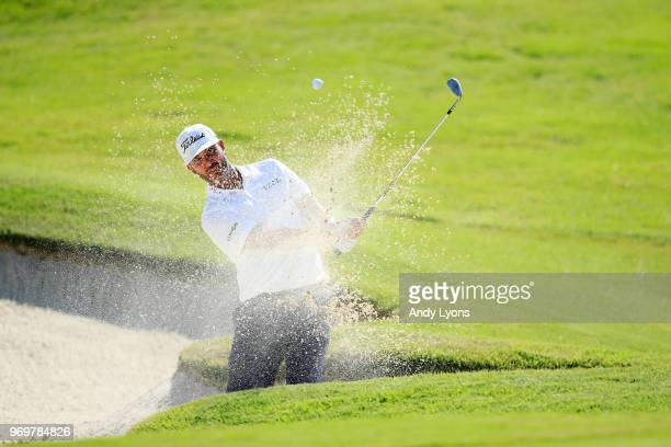 Scott Piercy plays his third shot on the 16th hole during the second round of the FedEx St Jude Classic at at TPC Southwind on June 8 2018 in Memphis...