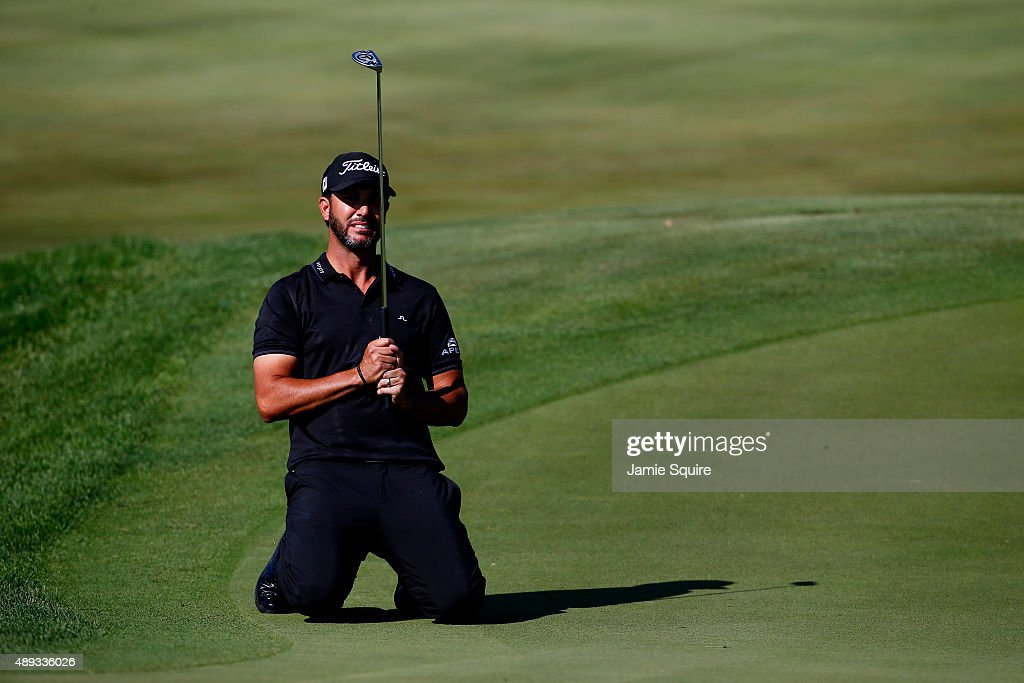 Scott Piercy reacts after missing a putt on the tenth green during the Final Round of the BMW Championship at Conway Farms Golf Club on September 20, 2015 in Lake Forest, Illinois.