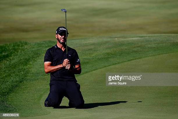 Scott Piercy reacts after missing a putt on the tenth green during the Final Round of the BMW Championship at Conway Farms Golf Club on September 20...