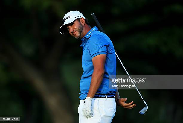 Scott Piercy reacts to a shot on the 18th hole during the third round of the Sony Open In Hawaii at Waialae Country Club on January 16 2016 in...